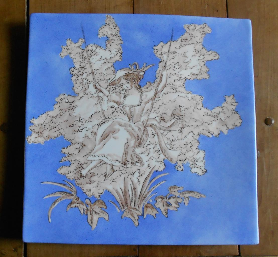 La balançoire (toile de Jouy bleue)
